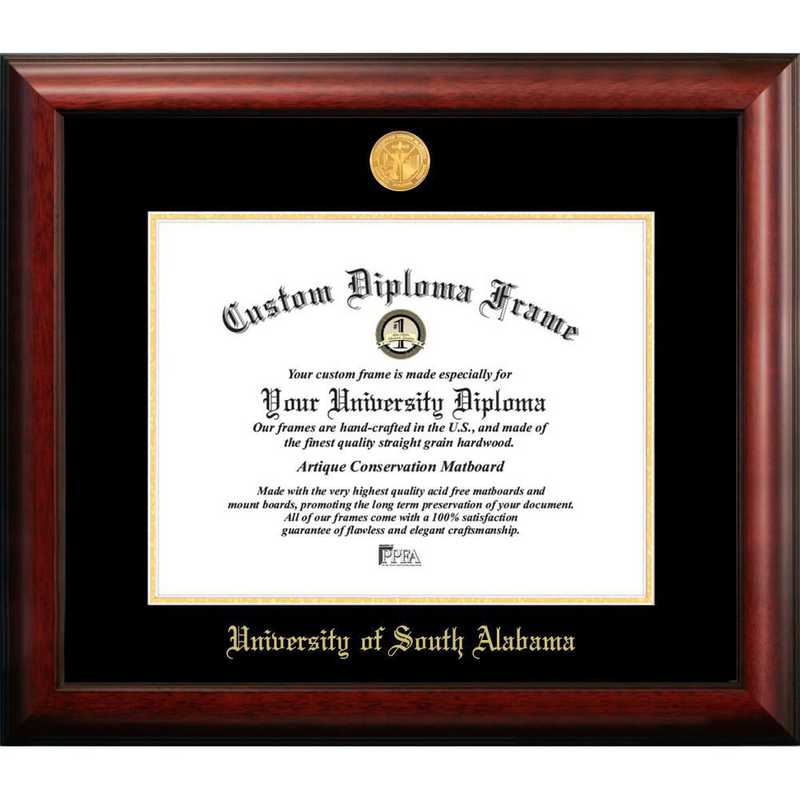 AL991GED-1185: University of South Alabama 11w x 8.5h Gold Embossed Diploma Frame