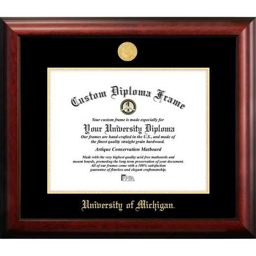 MI982GED-1185: University of Michigan 11w x 8.5h Gold Embossed Diploma Frame