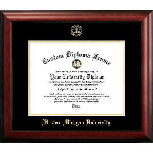 MI981GED-1185: Western Michigan University 11w x 8.5h Gold Embossed Diploma Frame
