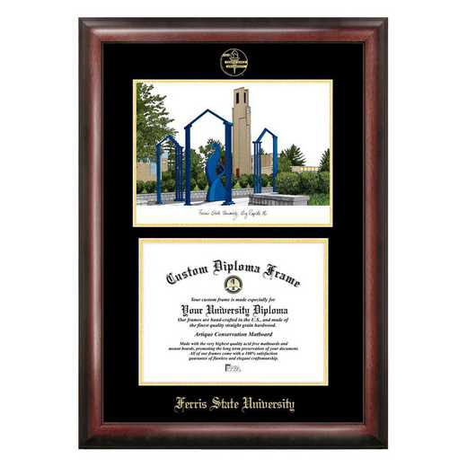 MI979LGED-1185: Ferris State University 11w x 8.5h Gold Embossed Diploma Frame with Campus Images Lithograph