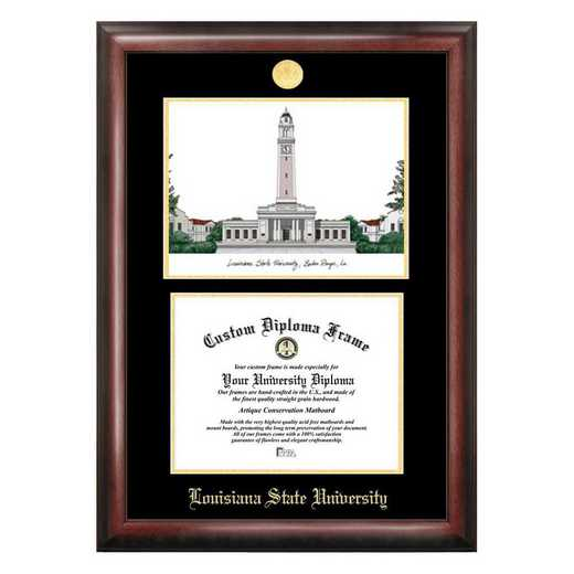 LA999LGED-1185: Louisiana State University 11w x 8.5h Gold Embossed Diploma Frame with Campus Images Lithograph