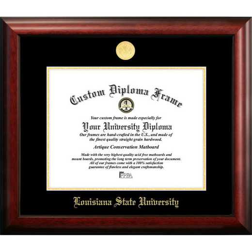 LA999GED-1185: Louisiana State University 11w x 8.5h Gold Embossed Diploma Frame