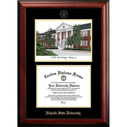 LA997LGED-1185: Nicholls State University 11w x 8.5h Gold Embossed Diploma Frame with Campus Images Lithograph