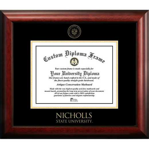 LA997GED-1185: Nicholls State 11w x 8.5h Gold Embossed Diploma Frame