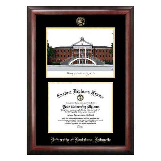 LA993LGED-1185: University of Louisiana-Lafayette 11w x 8.5h Gold Embossed Diploma frame with Campus Image