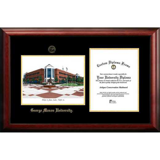 VA997LGED-1014: George Mason University 10w x 14h Gold Embossed Diploma Frame with Campus Images Lithograph