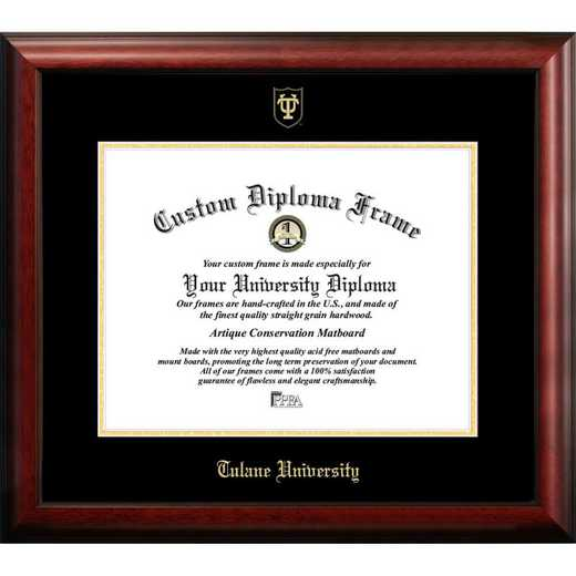LA995GED-1185: Tulane University 11w x 8.5h Gold Embossed Diploma Frame
