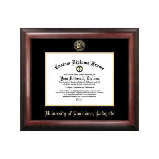 LA993GED-1185: University of Louisiana-Lafayette 11w x 8.5h Gold Embossed Diploma Frame