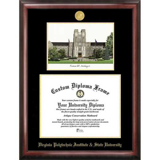 VA999LGED-155135: Virginia Tech 15.5w x 13.5h Gold Embossed Diploma Frame with Campus Images Lithograph