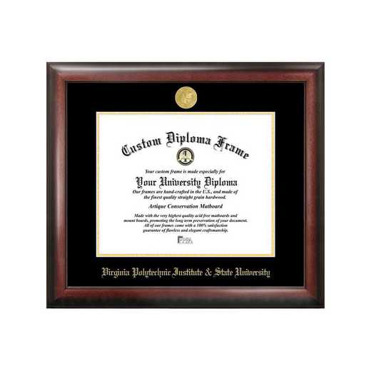 VA999GED-155135: Virginia Tech 15.5w x 13.5h Gold Embossed Diploma Frame