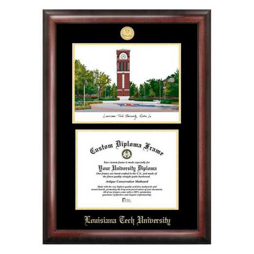 LA988LGED-1185: Louisiana Tech University 11w x 8.5h Gold Embossed Diploma Frame with Campus Images Lithograph