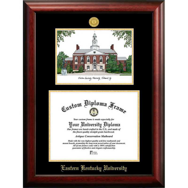KY999LGED-1185: Eastern Kentucky University 11w x 8.5h Gold Embossed Diploma Frame with Campus Images Lithograph