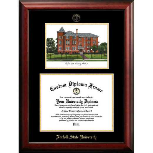 VA992LGED-1185: Norfolk State 11w x 8.5h Gold Embossed Diploma Frame with Campus Images Lithograph