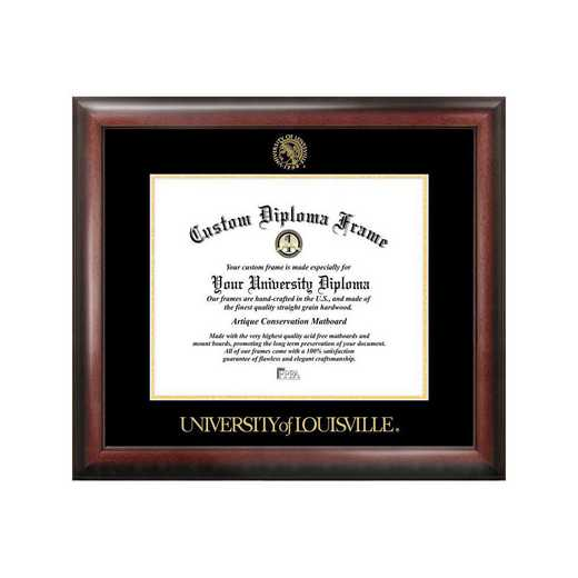 KY997GED-1714: University of Louisville 17w x 14h Gold Embossed Diploma Frame