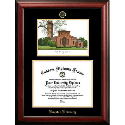 VA990LGED-1185: Hampton University 11w x 8.5h Gold Embossed Diploma Frame with Campus Images Lithograph