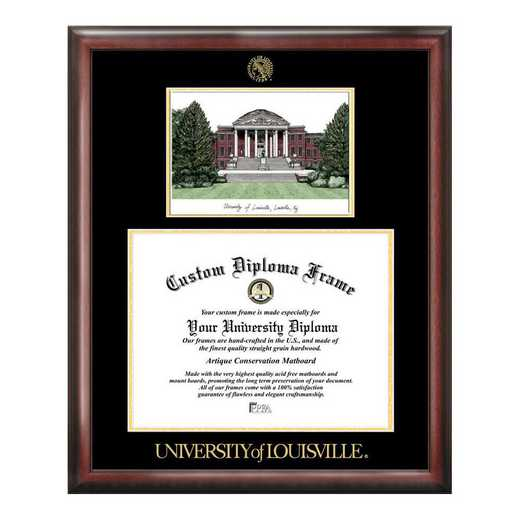 KY997LGED-1714: University of Louisville 17w x 14h Gold Embossed Diploma Frame with Campus Images Lithograph