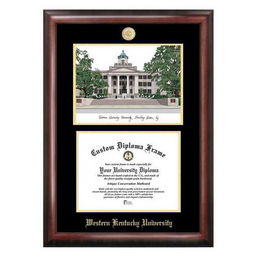 KY996LGED-1185: Western Kentucky University 11w x 8.5h Gold Embossed Diploma Frame with Campus Images Lithograph
