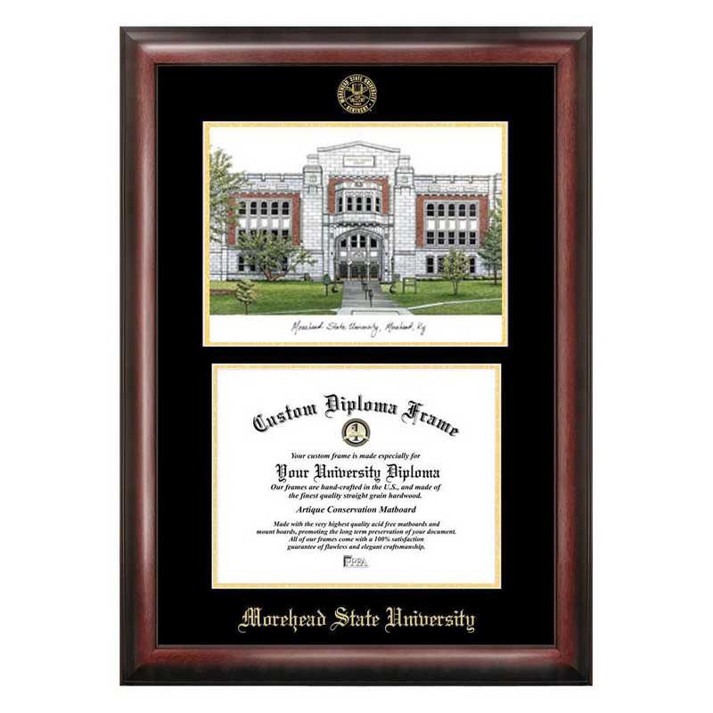 KY985LGED-1185: Morehead State University 11w x 8.5h Gold Embossed Diploma Frame with Campus Images Lithograph