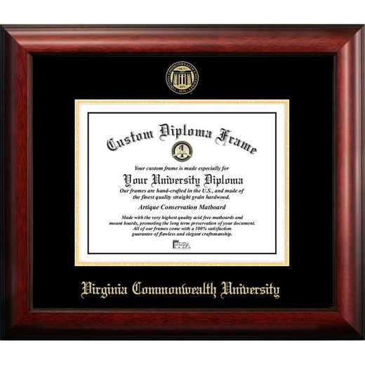 VA983GED-1411: Virginia Commonwealth University 14w x 11h Gold Embossed Diploma Frame