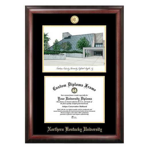 KY977LGED-1185: Northern Kentucky University 11w x 8.5h Gold Embossed Diploma Frame with Campus Images Lithograph
