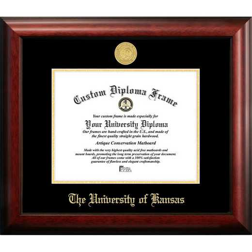 KS999GED-1185: University of Kansas 11w x 8.5h Gold Embossed Diploma Frame