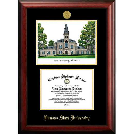 KS998LGED-1185: Kansas State University 11w x 8.5h Gold Embossed Diploma Frame with Campus Images Lithograph
