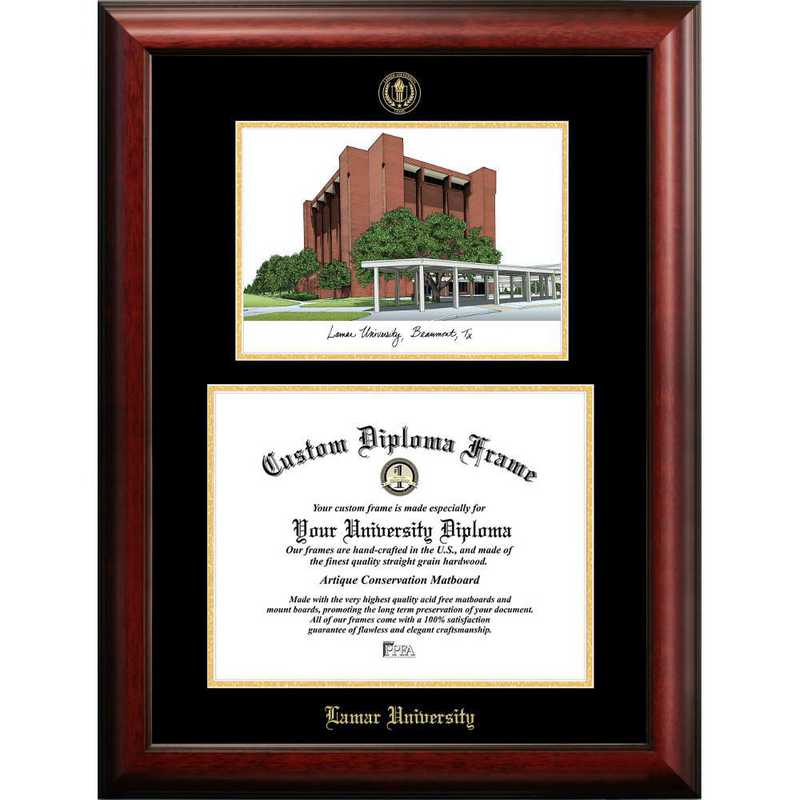 TX994LGED-1185: Lamar University 11w x 8.5h Gold Embossed Diploma Frame with Campus Images Lithograph