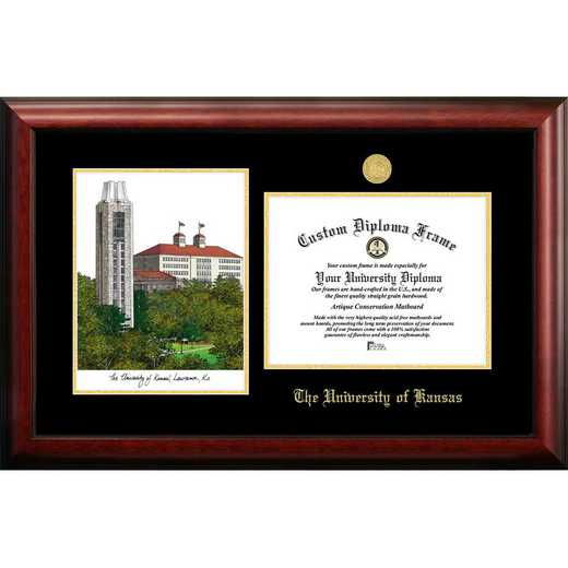 KS999LGED-1185: University of Kansas 11w x 8.5h Gold Embossed Diploma Frame with Campus Images Lithograph