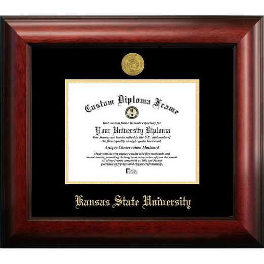 KS998GED-1185: Kansas State 11w x8.5h University Gold Embossed Diploma Frame