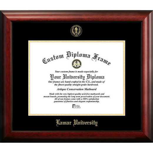 TX994GED-1185: Lamar University 11w x 8.5h Gold Embossed Diploma Frame