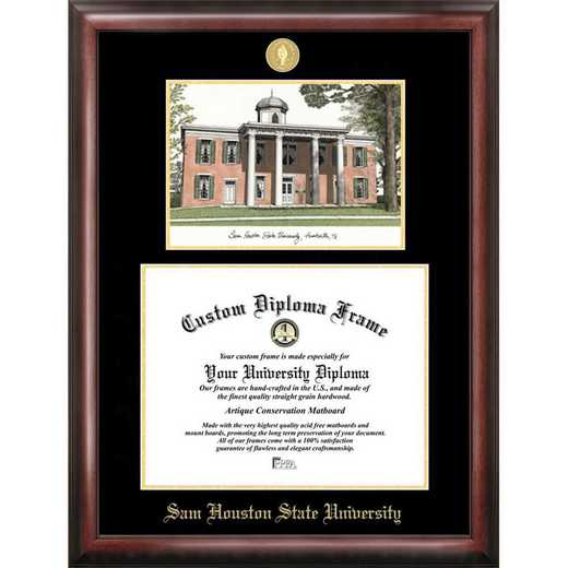 TX988LGED-1411: Sam Houston State 14w x 11h Gold Embossed Diploma Frame with Campus Images Lithograph