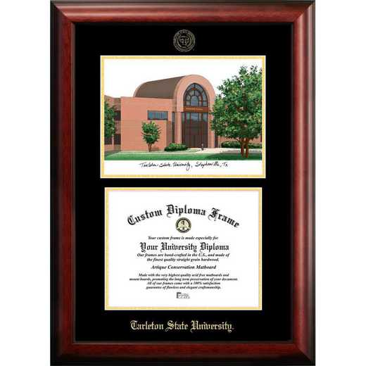 TX968LGED-1411: Tarleton State University 14w x 11h Gold Embossed Diploma Frame with Campus Images Lithograph