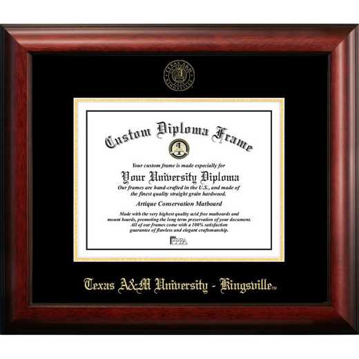 TX982GED-1411: Texas A&M Kingsville University 14w x 11h Gold Embossed Diploma Frame