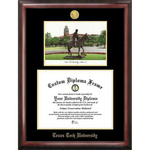 TX960LGED-1411: Texas Tech University 14w x 11h Gold Embossed Diploma Frame with Campus Images Lithograph