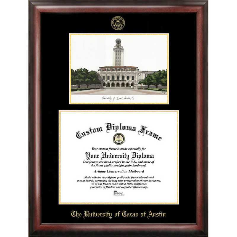 TX959LGED-1411: University of Texas, Austin 14w x 11h Gold Embossed Diploma Frame with Campus Images Lithograph