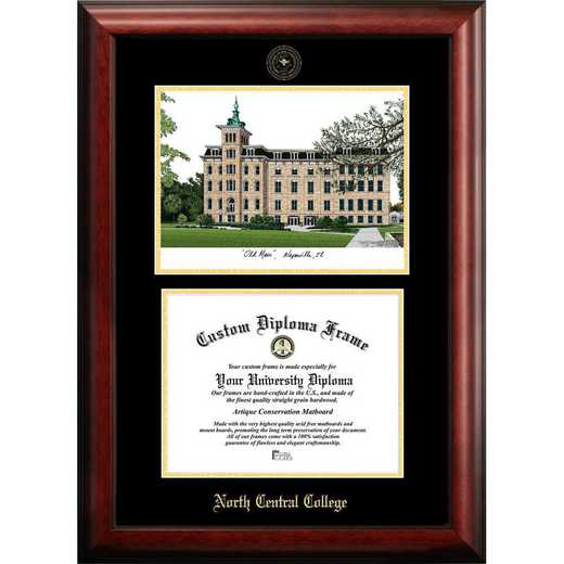 IL984LGED-1185: North Central College 11w x 8.5h Gold Embossed Diploma Frame with Campus Images Lithograph