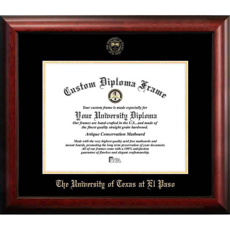TX951GED-1185: University of Texas, El Paso 11w x 8.5h Gold Embossed Diploma Frame