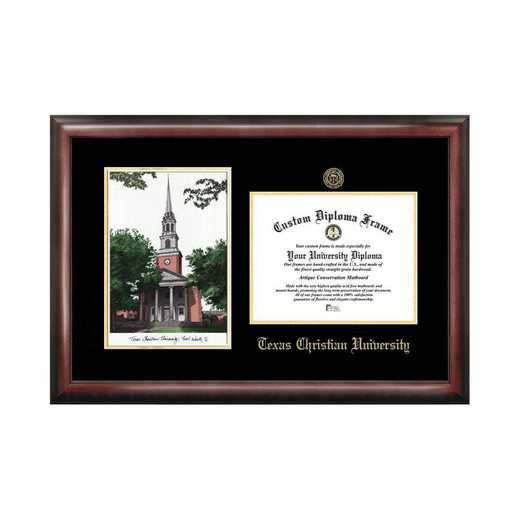 TX949LGED-1185: Texas Christian University 11w x 8.5h Gold Embossed Diploma Frame with Campus Images Lithograph