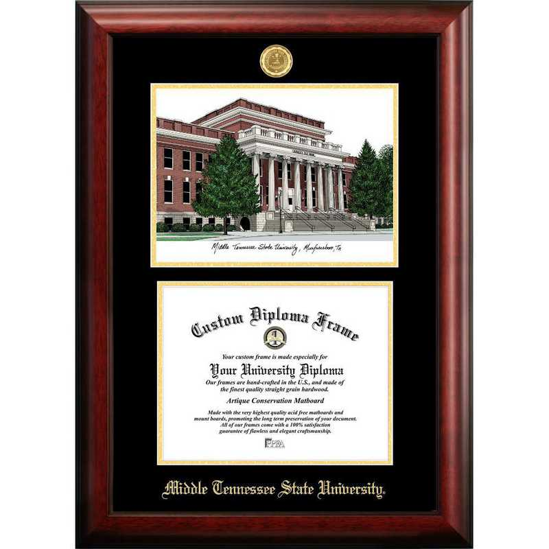 TN999LGED-1185: Middle Tennessee State 11w x 8.5h Gold Embossed Diploma Frame with Campus Images Lithograph