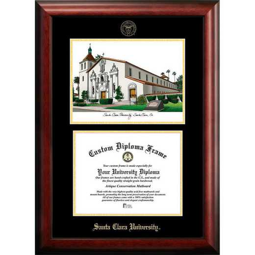 CA930LGED-108: Santa Clara University 10w x 8h Gold Embossed Diploma Frame with Campus Images Lithograph
