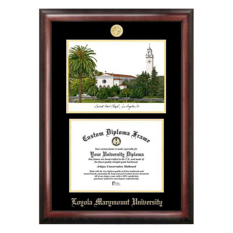 CA927LGED-1185: Loyola Marymount 11w x 8.5h Gold Embossed Diploma Frame with Campus Images Lithograph