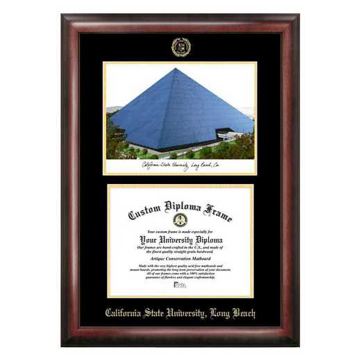 CA923LGED-1185: Cal State Long Beach 11w x 8.5h Gold Embossed Diploma Frame with Campus Images Lithograph