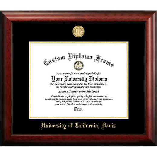 CA942GED-1185: University of California, Davis 11w x 8.5h Gold Embossed Diploma Frame