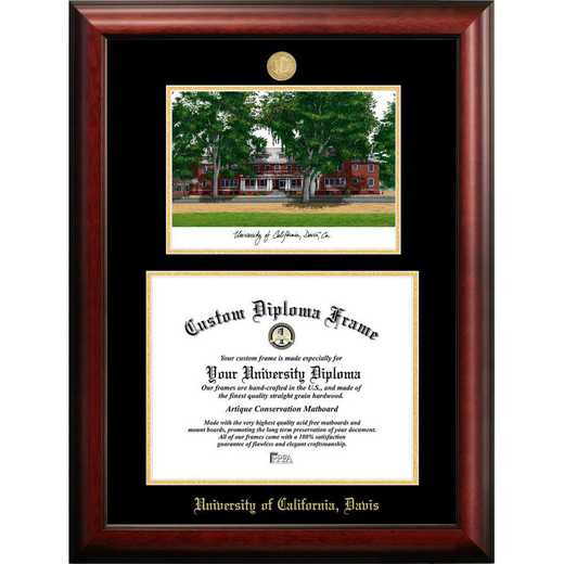 CA942LGED-1185: University of California, Davis Gold Embossed Diploma Frame with Campus Images Lithograph