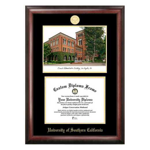 CA940LGED-1185: University of Southern California 11w x 8.5h Gold Embossed Diploma Frame with Campus Images Lithograph