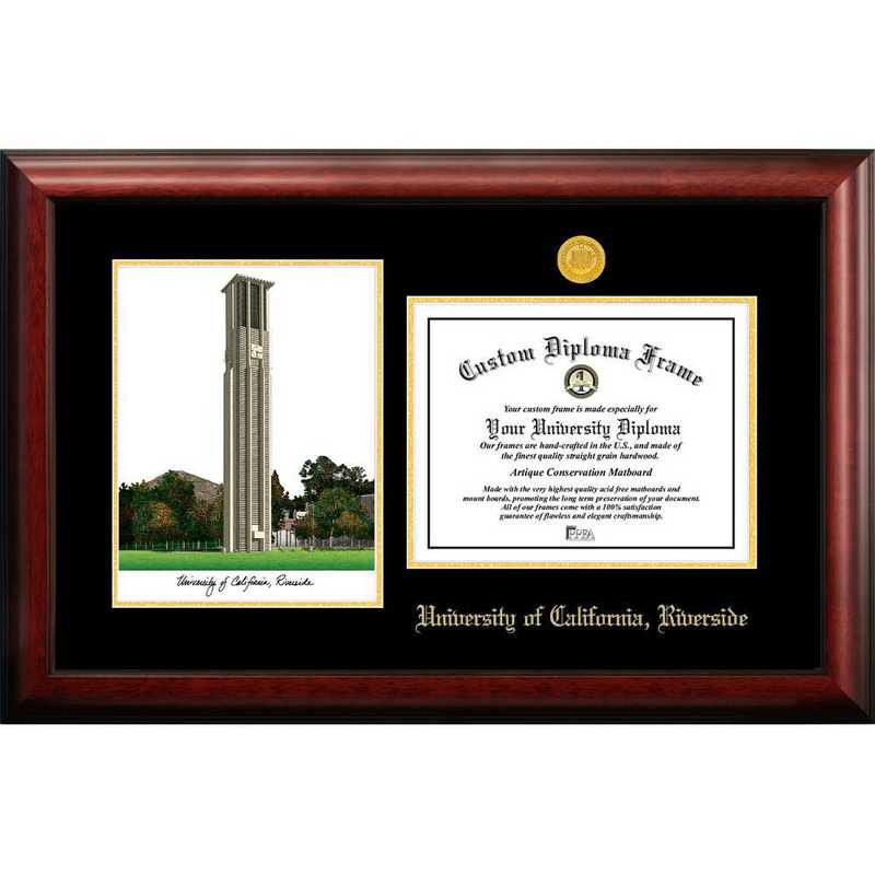 CA941LGED-1185: UC Riverside 11w x 8.5h Gold Embossed Diploma Frame with Campus Images Lithograph