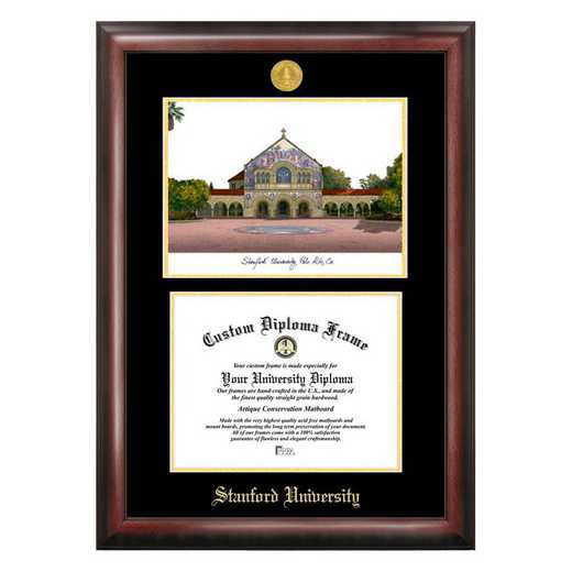 CA932LGED-1185: Stanford University 11w x 8.5h Gold Embossed Diploma Frame with Campus Images Lithograph