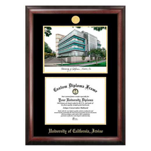 CA933LGED-1185: University of California, Irvine 11w x 8.5h Gold Embossed Diploma Frame with Campus Images Lithograph