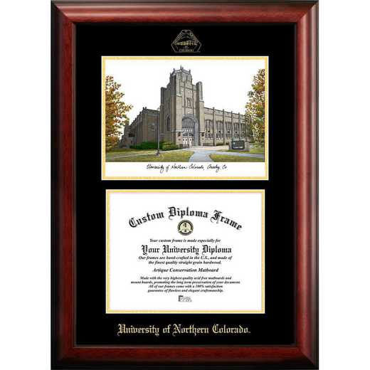 CO996LGED-108: University of Northern Colorado 10w x 8h Gold Embossed Diploma Frame with Campus Images Lithograph