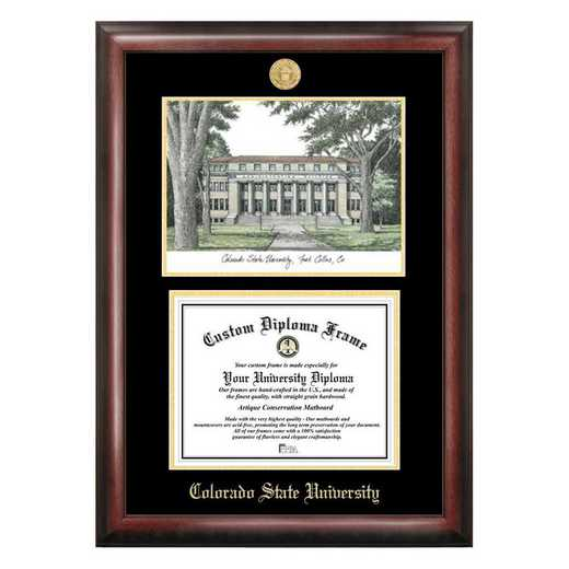 CO999LGED-1185: Colorado State University 11w x 8.5h Gold Embossed Diploma Frame with Campus Images Lithograph